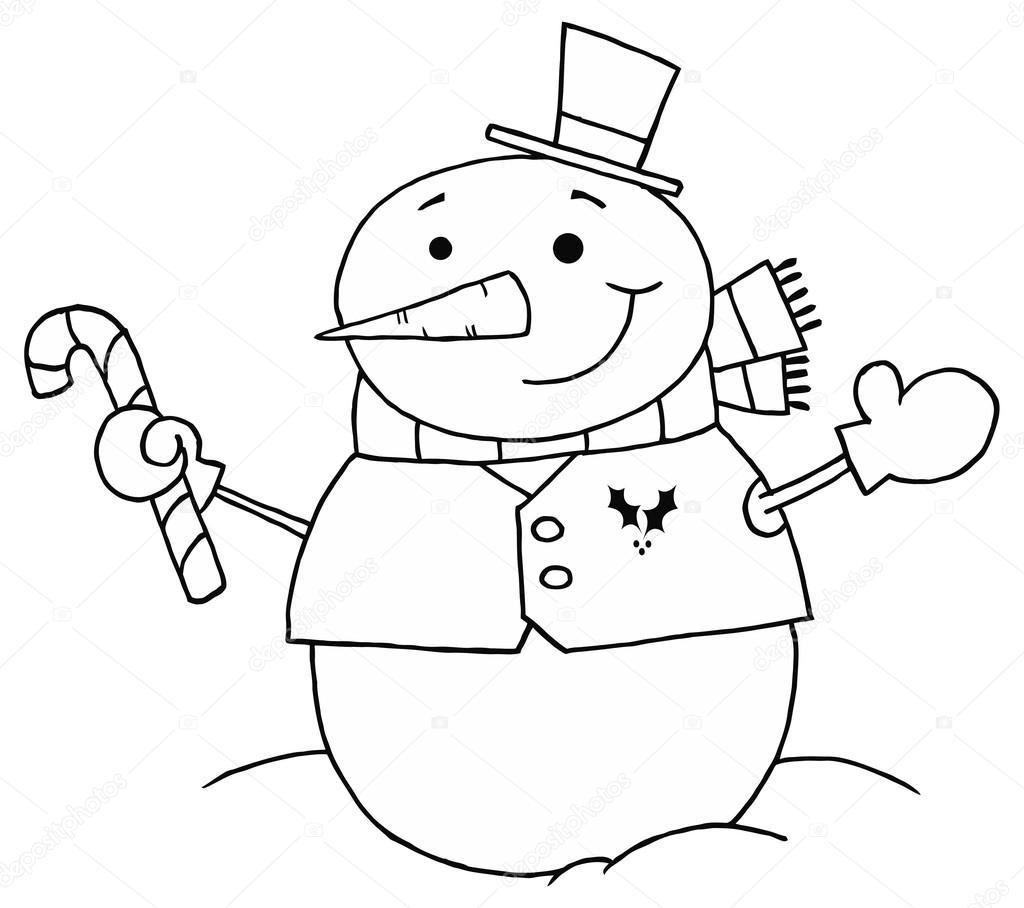 muñeco de nieve sosteniendo un bastón de caramelo — Archivo Imágenes ...