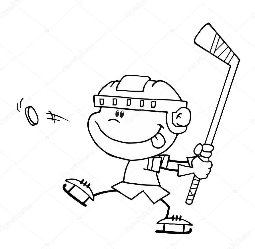 Niño jugando en hockey sobre hielo — Archivo Imágenes Vectoriales ...