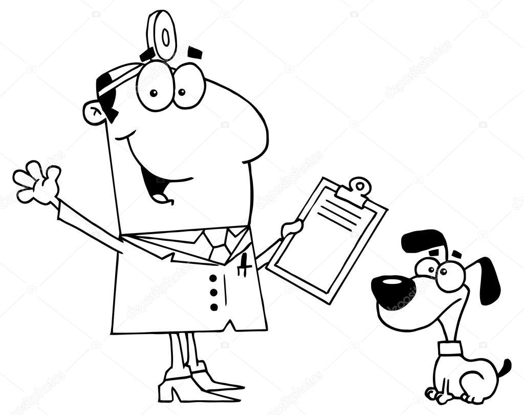 Kleurplaten Dierenarts.Cartoon Dierenarts Arts Karakter Stockvector C Hittoon 61073409