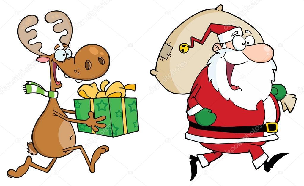 Dibujos Animados Santa Claus Con Renos