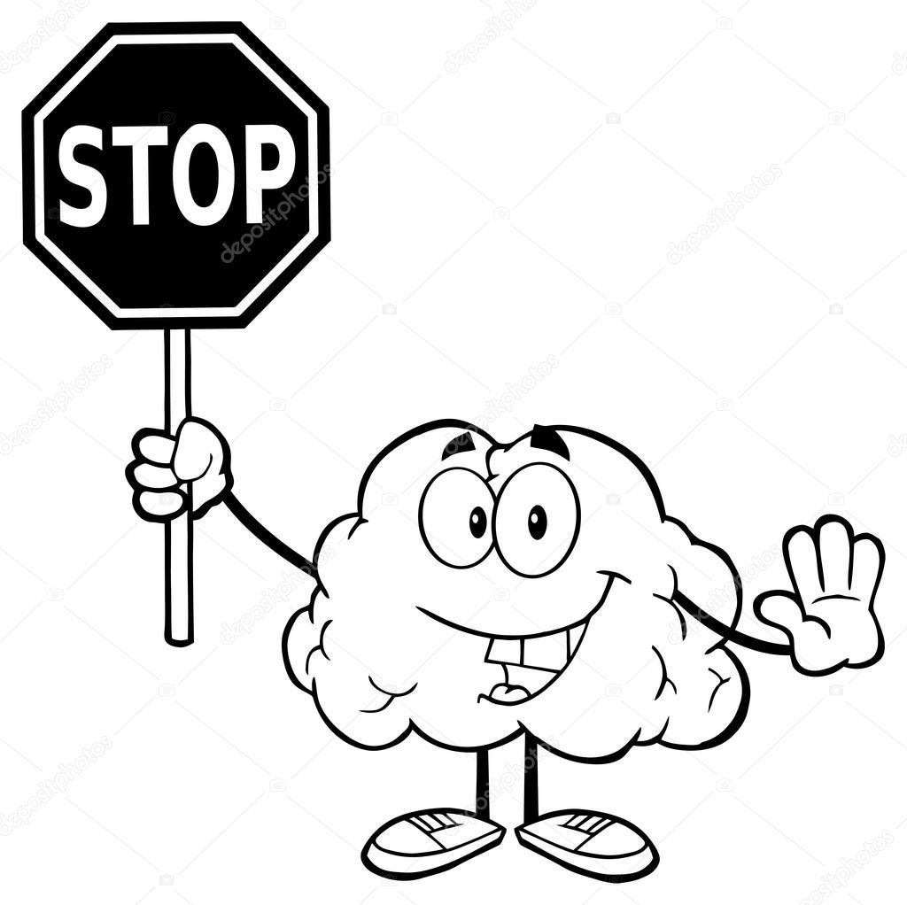 Cerebro con un cartel de Stop — Archivo Imágenes Vectoriales ...