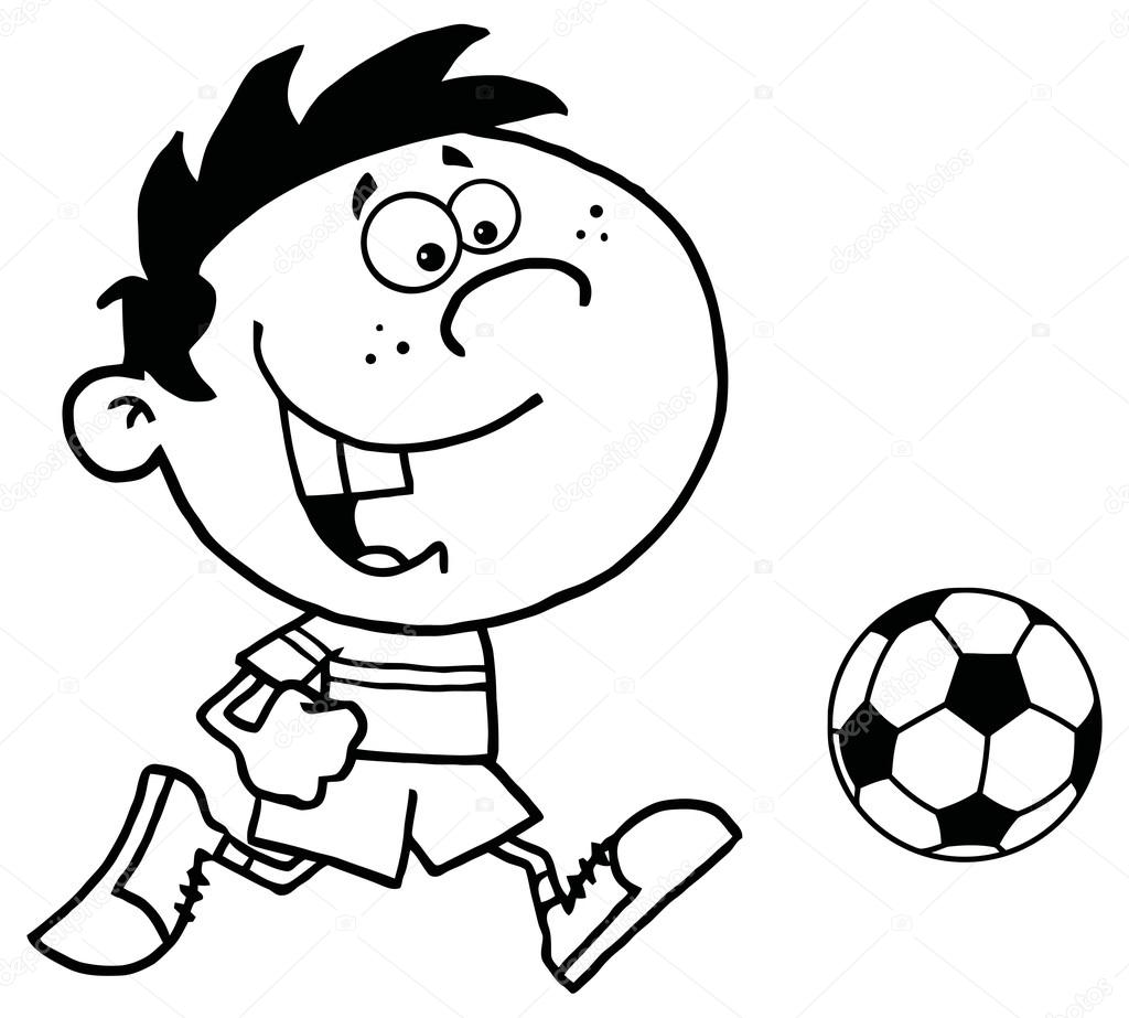 çizgi Film çocuk Ve Futbol Topu Stok Vektör Hittoon 61075097