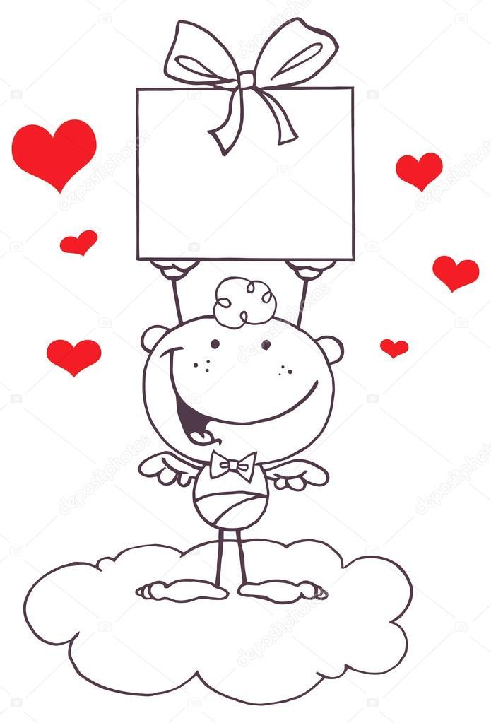 Cupido de dibujos animados con regalo — Archivo Imágenes Vectoriales ...
