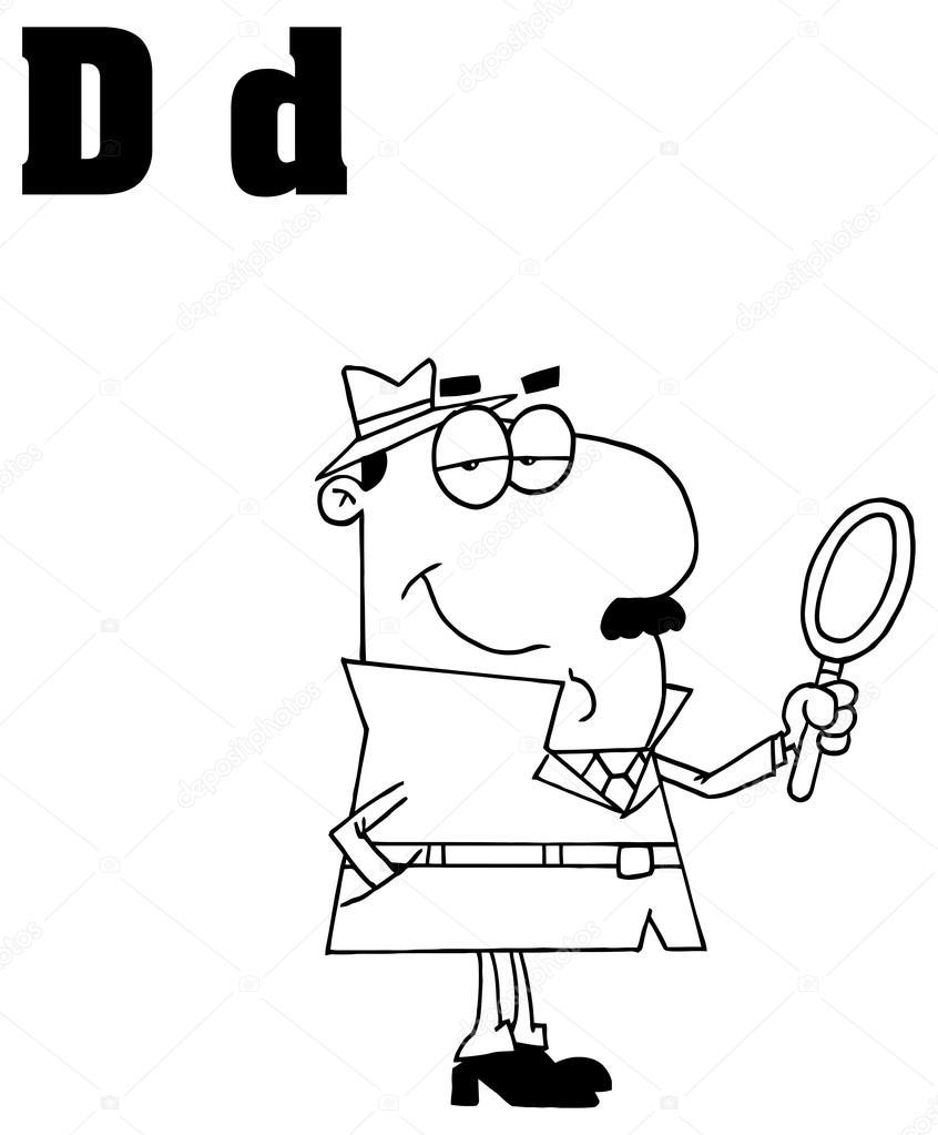 Helado Derretido Para Colorear Letra D Del Alfabeto Con Detective
