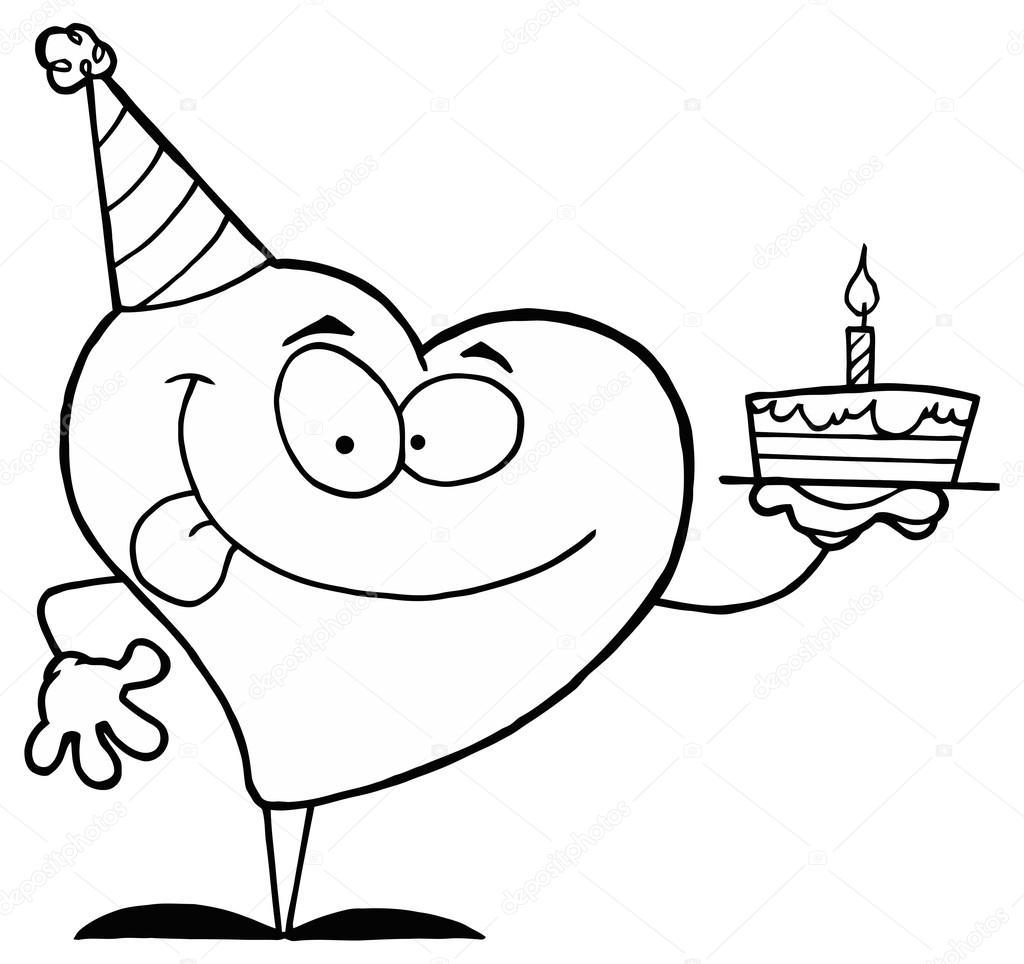 Doğum Günü Pastası Ile çizgi Film Kalp Stok Vektör Hittoon 61076751