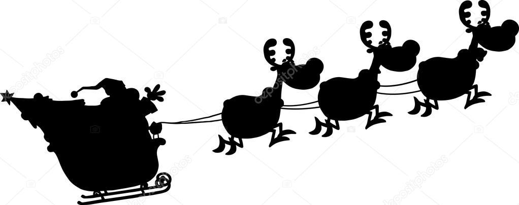siluetas rojos de santa claus en vuelo con sus renos y trineo archivo im genes vectoriales. Black Bedroom Furniture Sets. Home Design Ideas