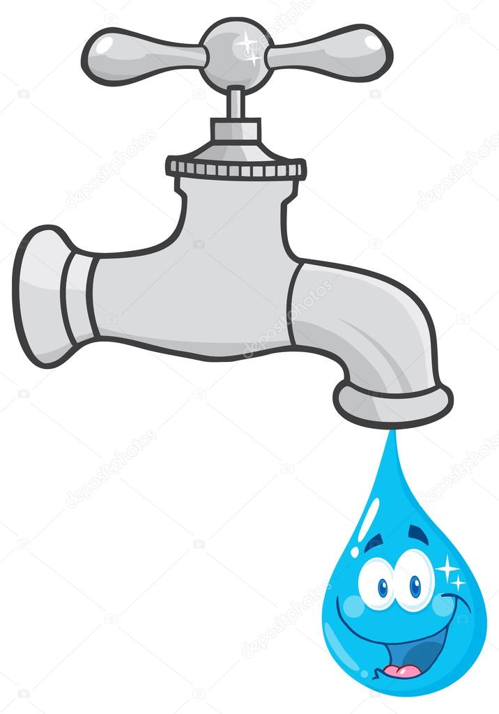 Water Faucet With Smiling Water Drop Cartoon Character. — Stock ...