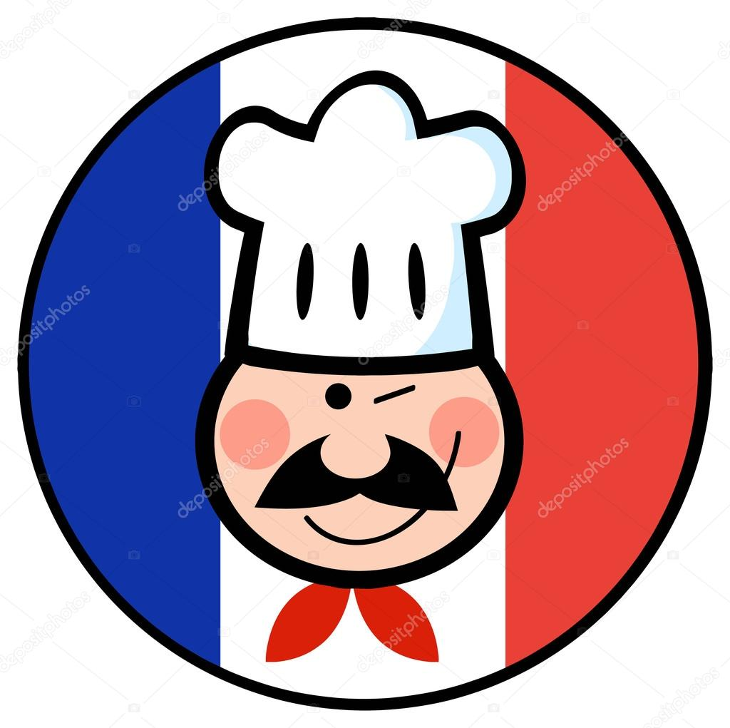 Chef de dibujos animados con bandera francesa vector de for Chef en frances