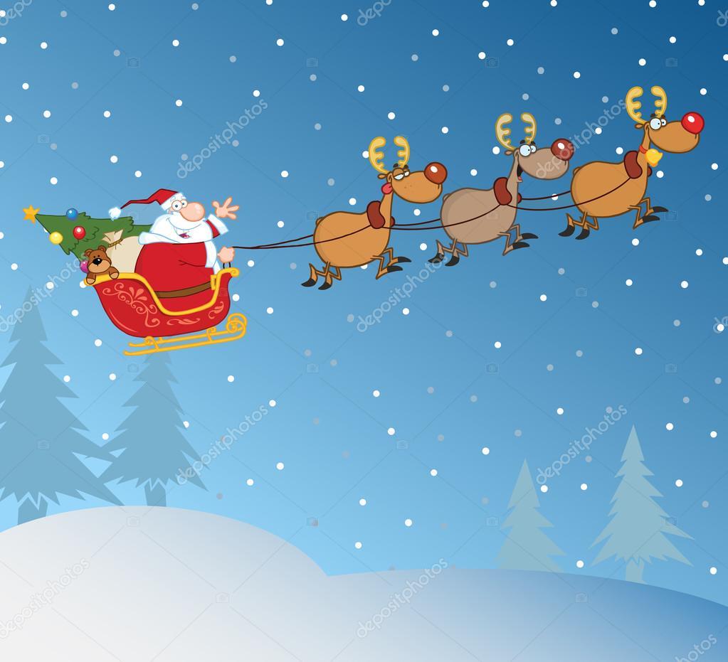 Santa Claus In Flight With His Reindeer