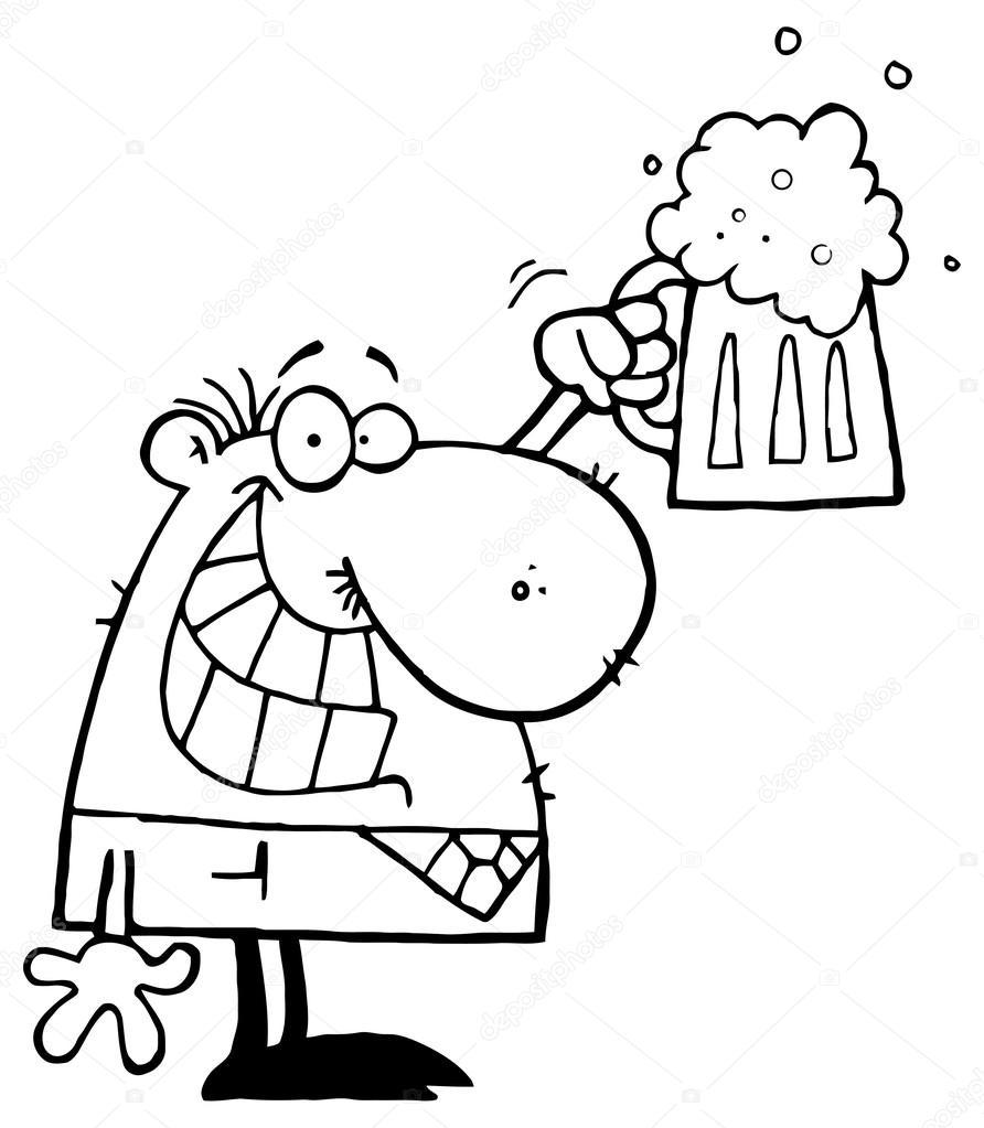 hombre de dibujos animados con cerveza — Vector de stock © HitToon ...