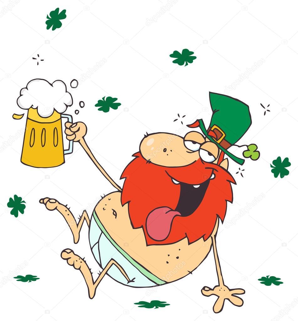 duende de bêbado dos desenhos animados com cerveja vetores de