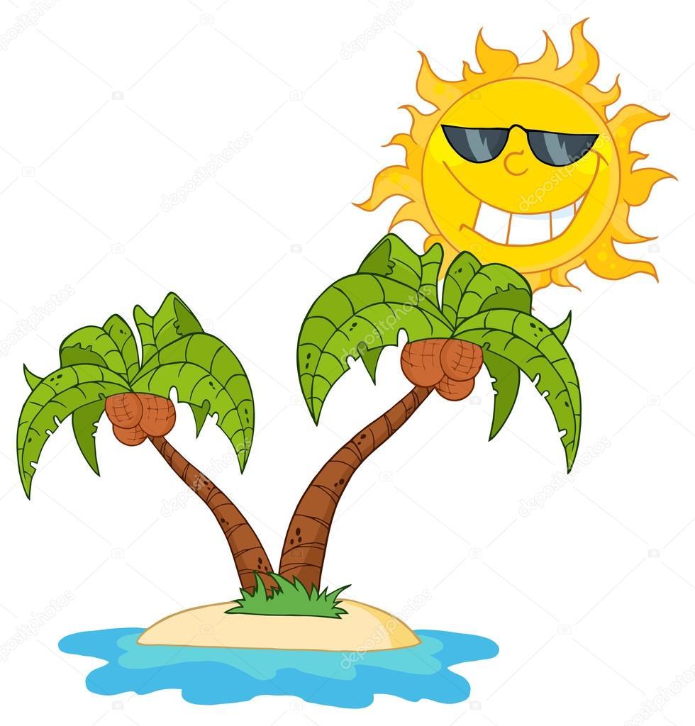 Ilha dos desenhos animados com duas palmeiras — vetores de