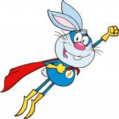 Cartoon Rabbit Superhero  Flying
