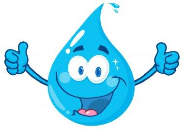 Happy Water Drop Character
