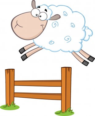 Sheep Jumping Over The Fence.
