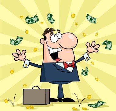 Businessman Under Falling Money