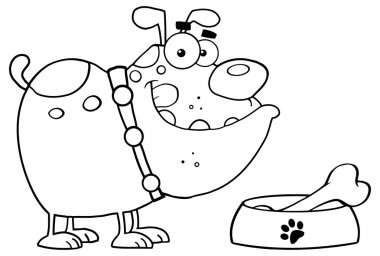 Black and white happy cartoon bulldog