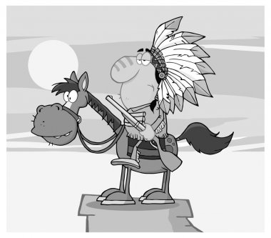 Indian Chief With Gun On Horse.