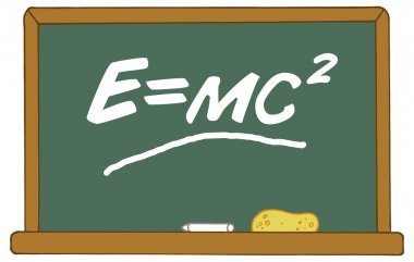 The Mass Energy Equivalence Equation E Equals MC2 On A Chalk Board