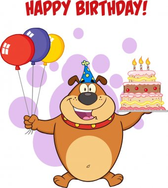 Happy Birthday Greeting With Brown Bulldog