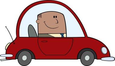 African American Businessman Driving Car