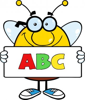 Smiling Pudgy Bee Cartoon Character Holding A Banner With Text ABC stock vector