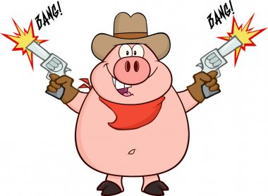 Cowboy Pig Shooting With Two Guns.