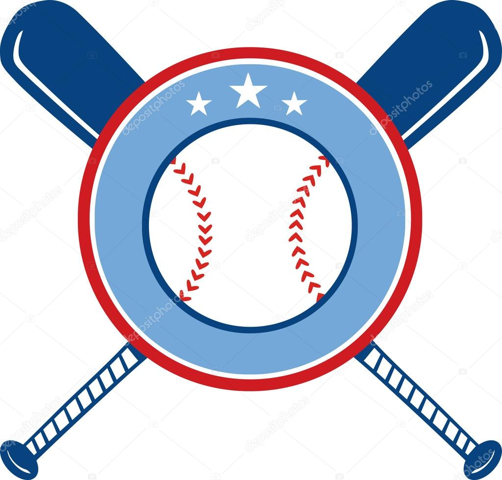 crossed baseball bats and ball banner stock vector hittoon rh depositphotos com Baseball Bat Border Baseball Plate Banner