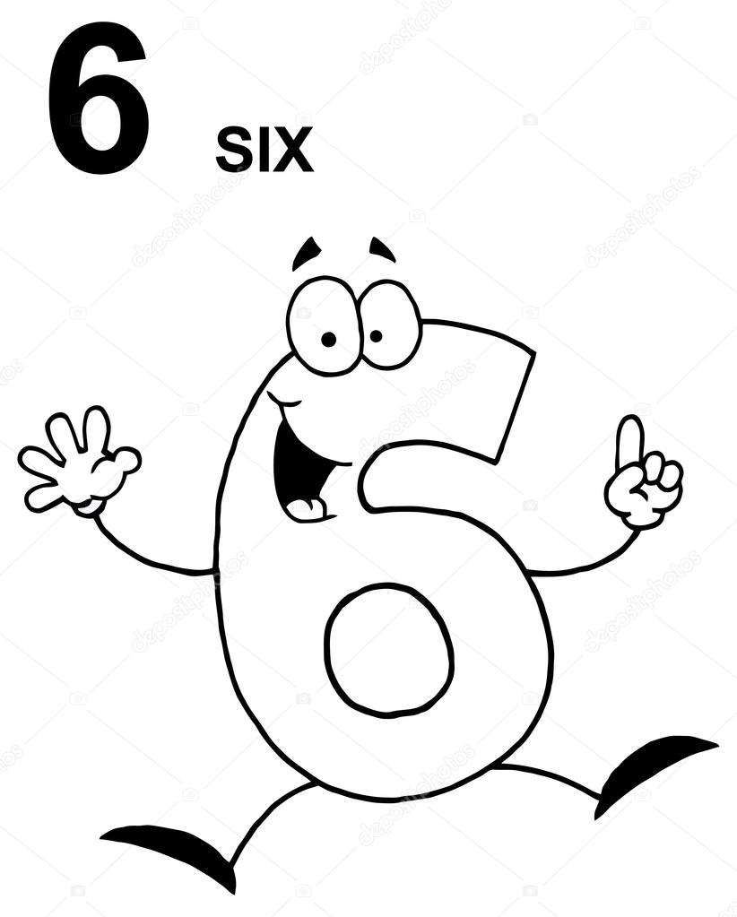 funny cartoon 6 number stock vector 61080191