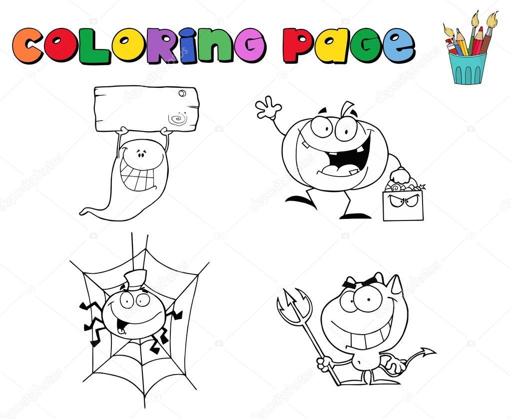 Personajes de Halloween para colorear contornos de página — Vector ...