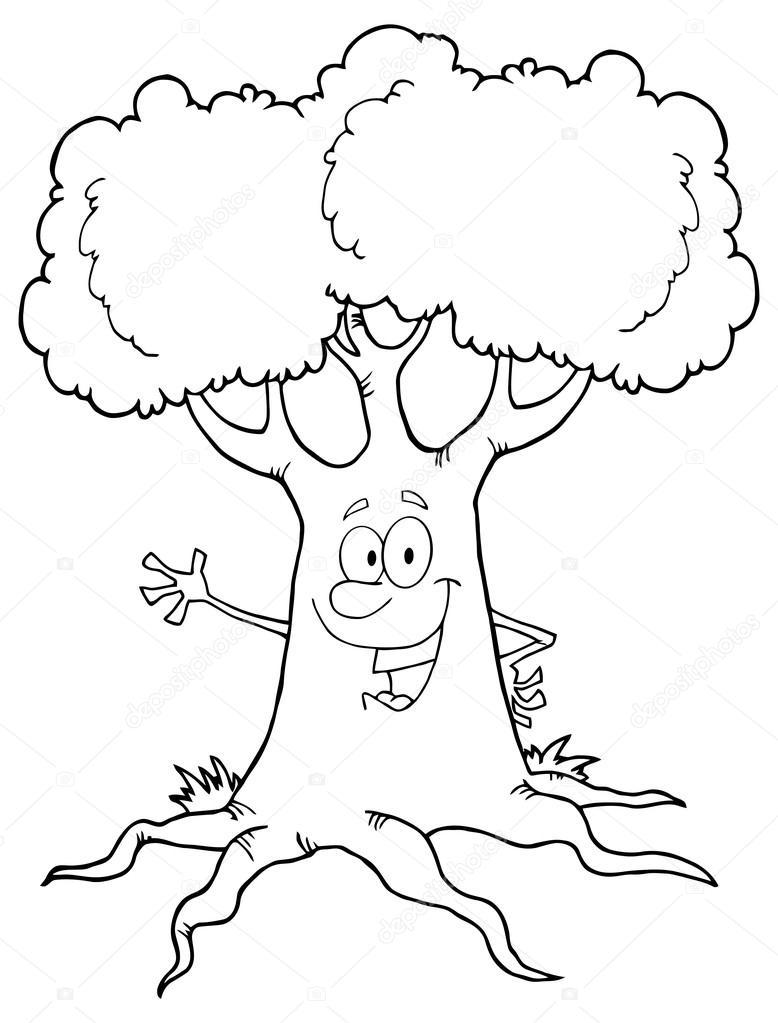 Baum Schwarz Weiß Comic