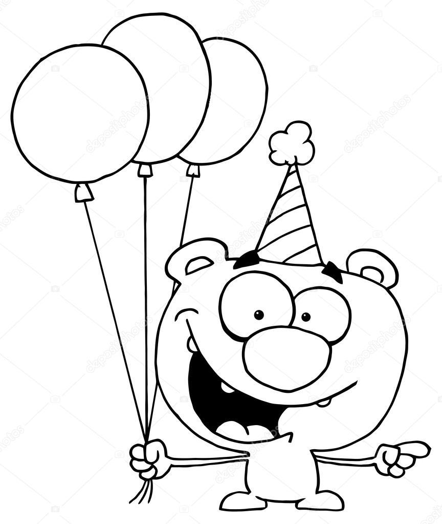 Oso con globos de cumpleaños — Vector de stock © HitToon #61081099