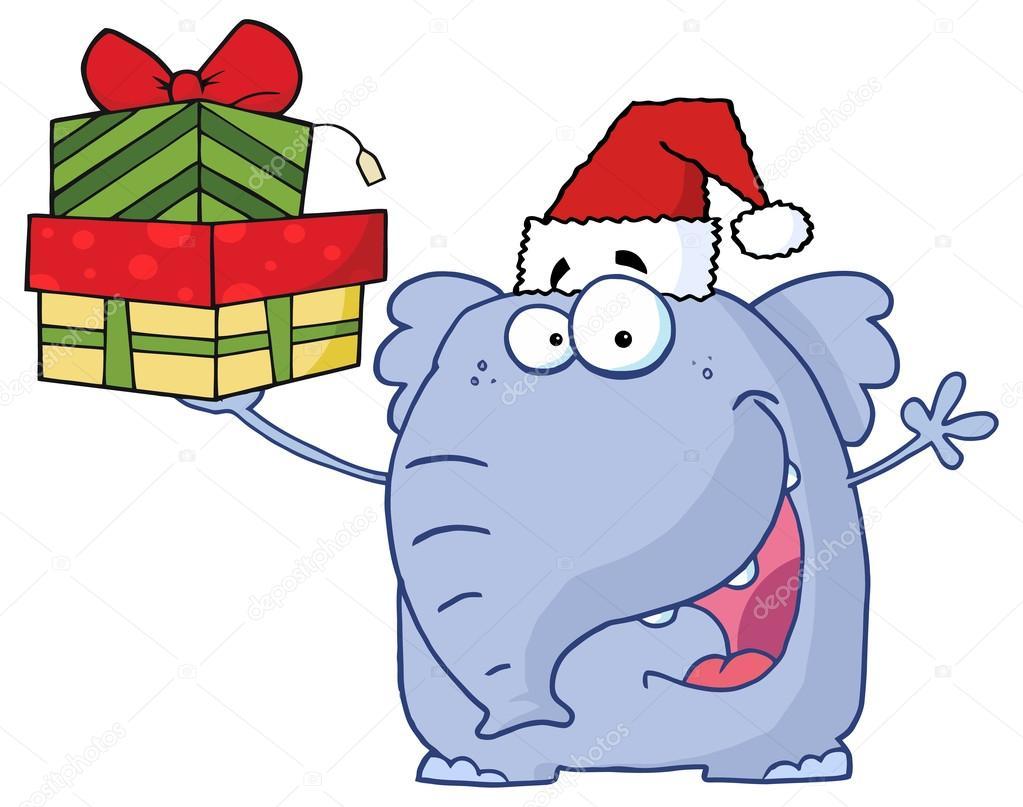 Frohe Weihnachten-Elefant — Stockvektor © HitToon #61081523