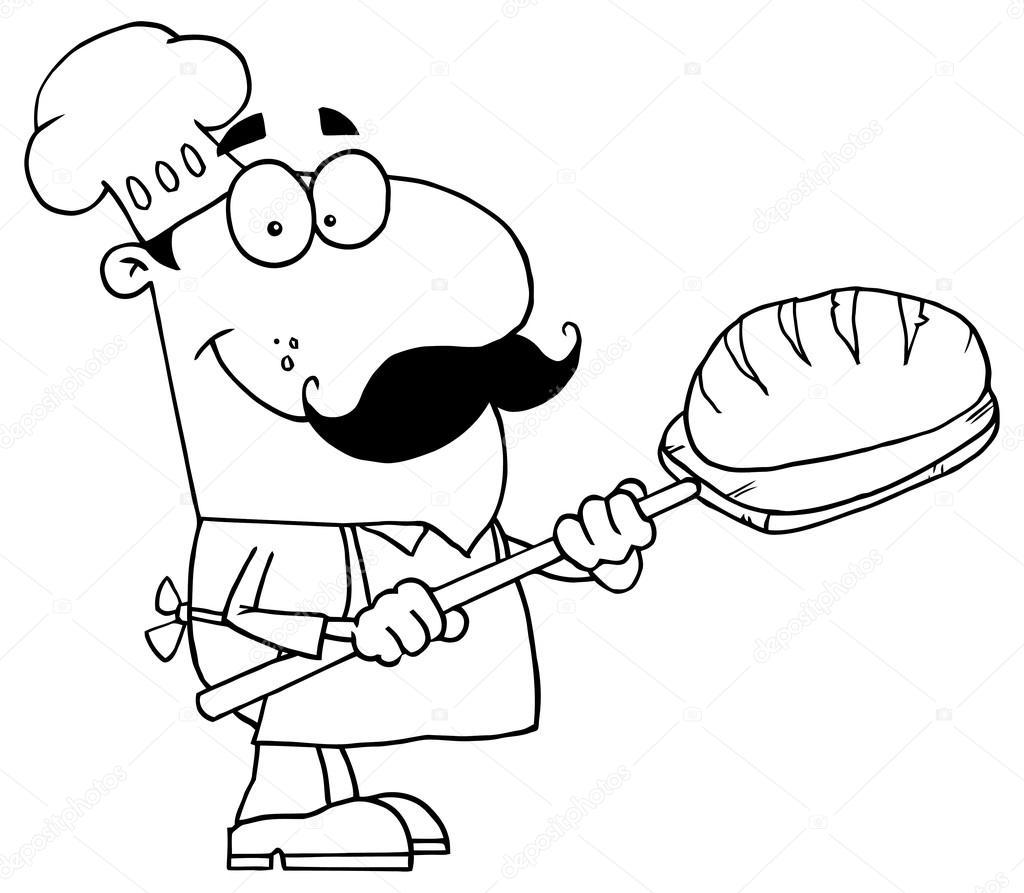 çizgi Film Baker Karakteri Stok Vektör Hittoon 61081655