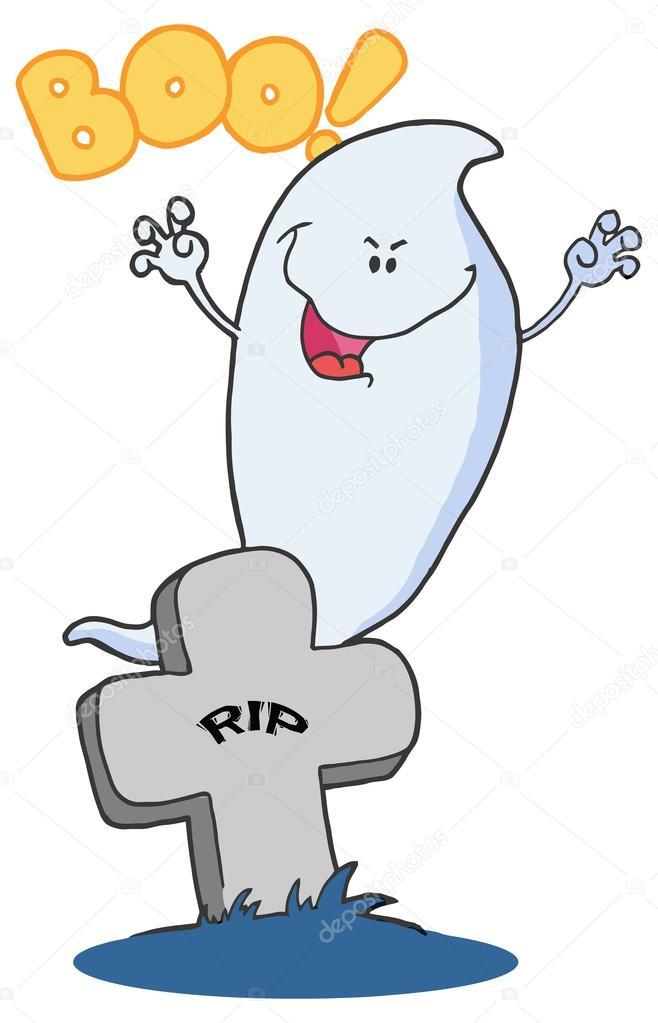 Dibujos animados Halloween fantasma en cementerio — Archivo Imágenes ...