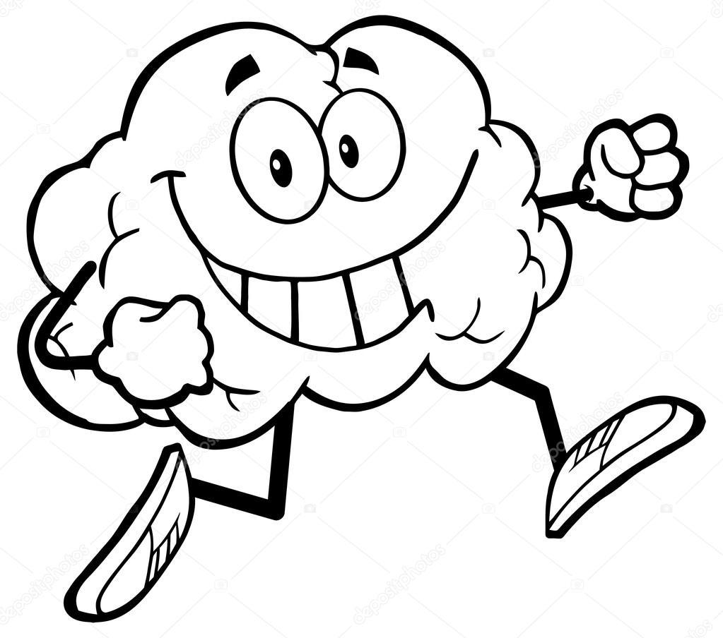 personnage de dessin anim u00e9 de cerveau de jogging  u2014 image