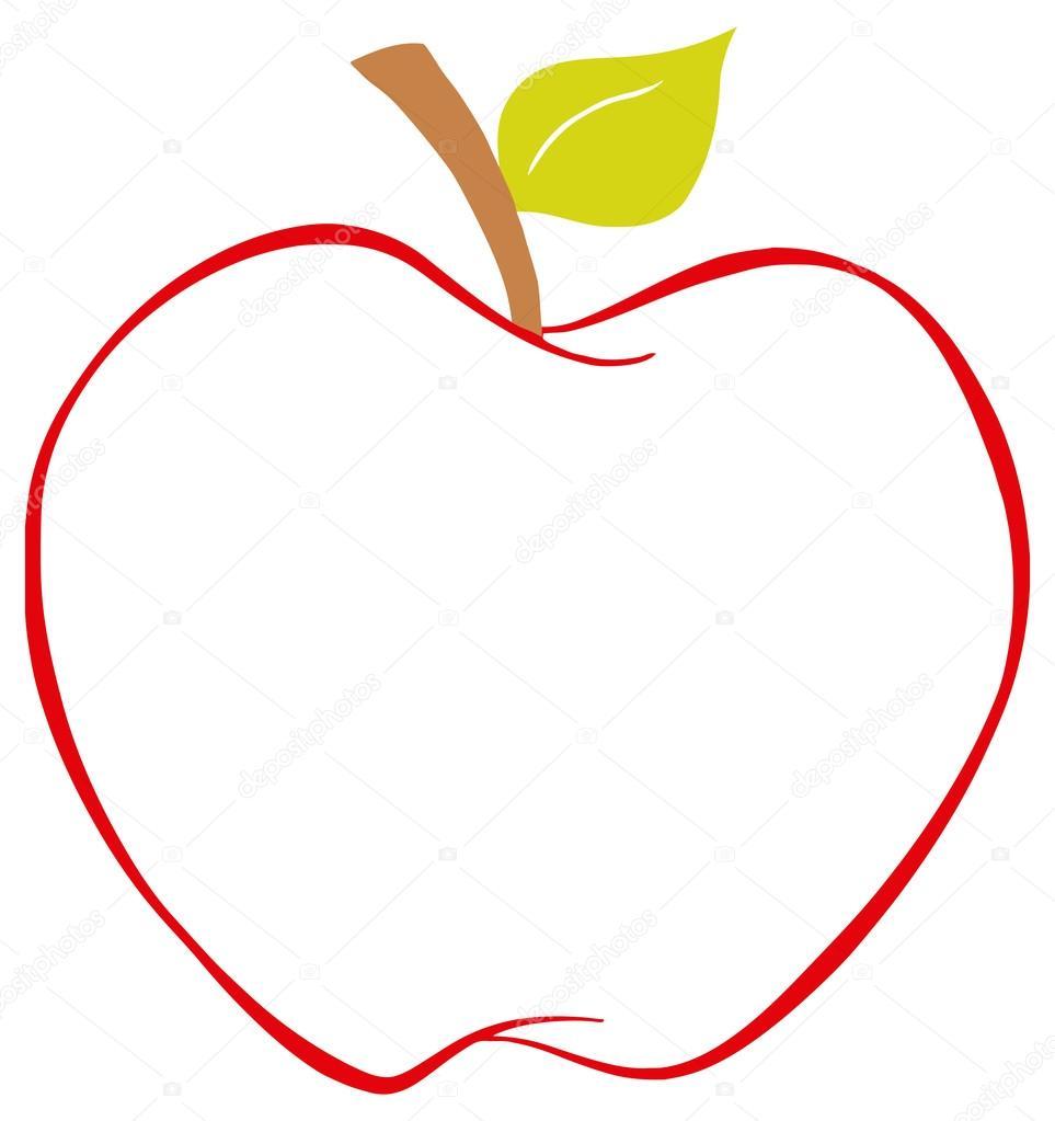 manzana con contorno color — Archivo Imágenes Vectoriales © HitToon ...