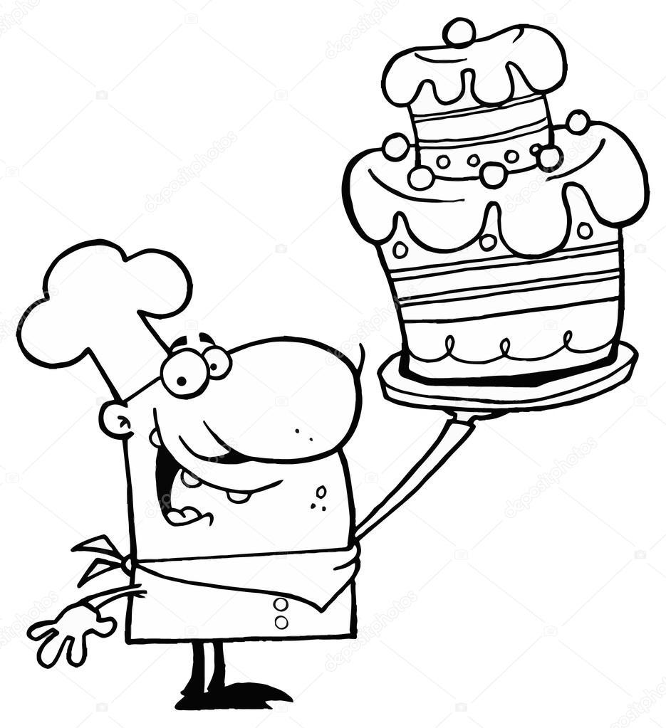 chef de dibujos animados con pastel — Vector de stock © HitToon ...