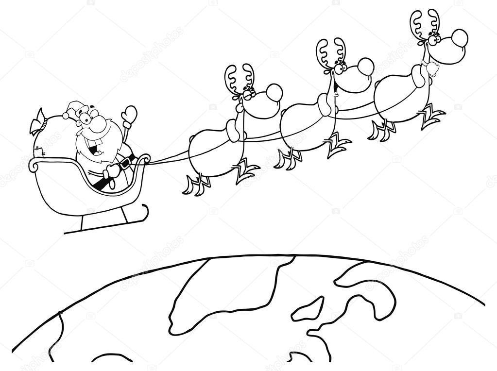 Noel Baba Ren Geyiği Ile Uçan Stok Vektör Hittoon 61083381