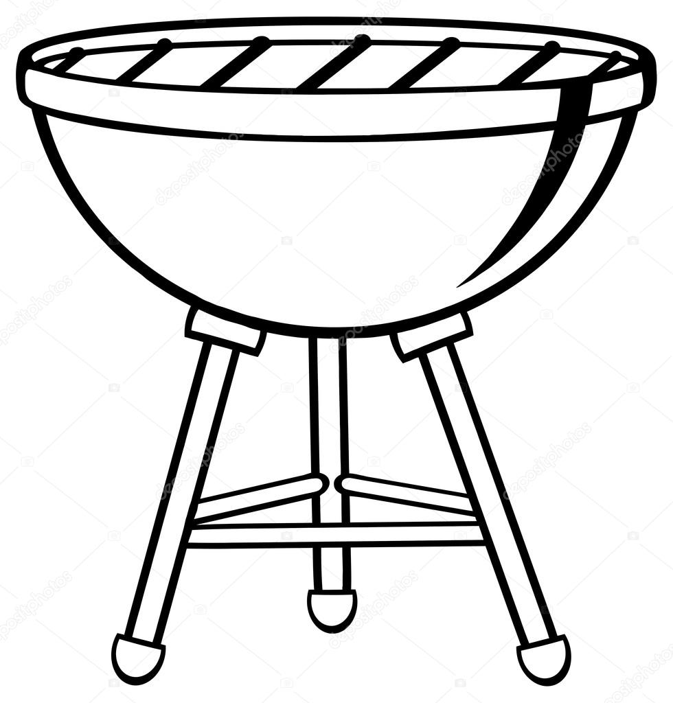 Outlined Barbecue on white