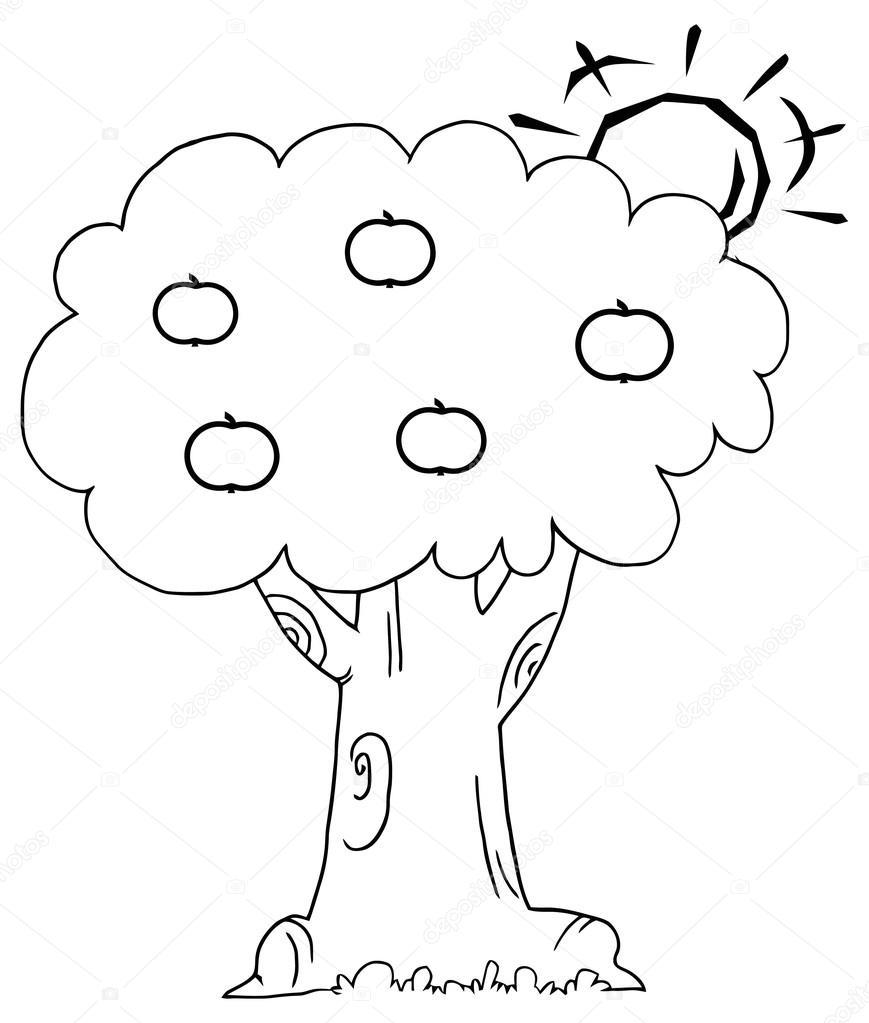Sol detrás de un árbol de manzana — Archivo Imágenes Vectoriales ...