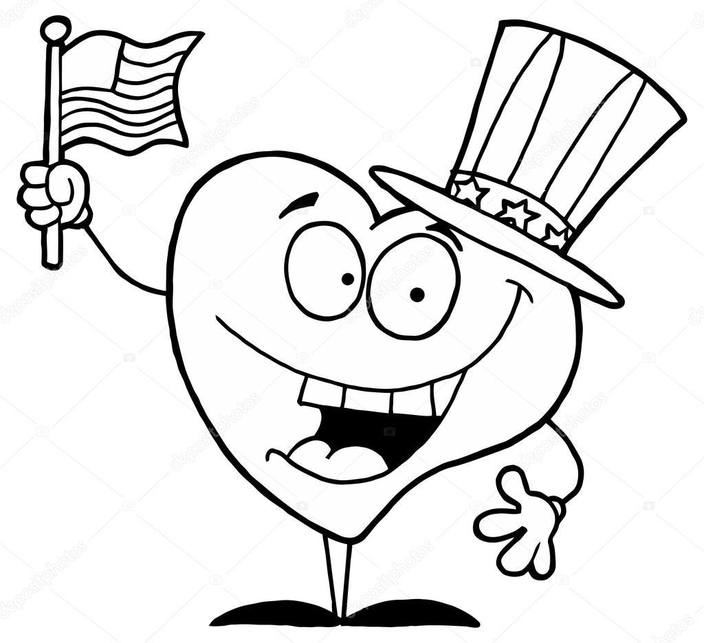 corazón de dibujos animados con bandera americana — Vector de stock ...