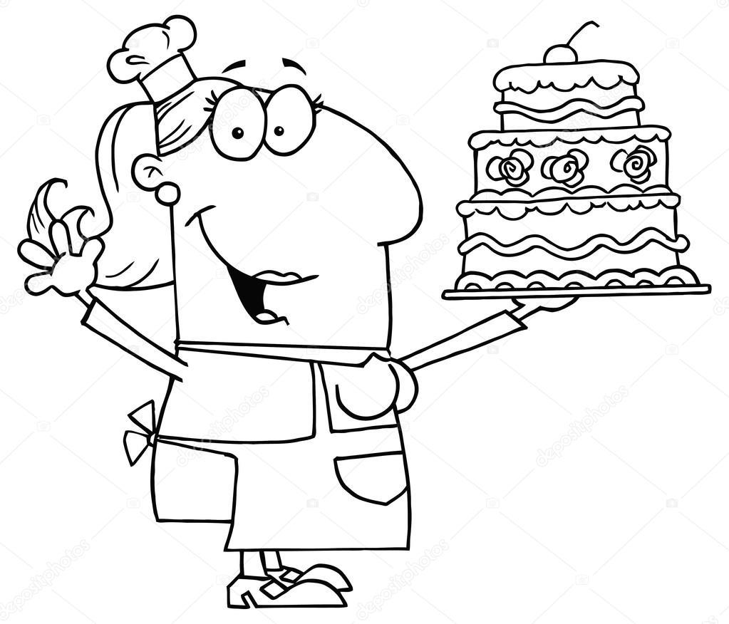 mujer de dibujos animados con pastel — Vector de stock © HitToon ...