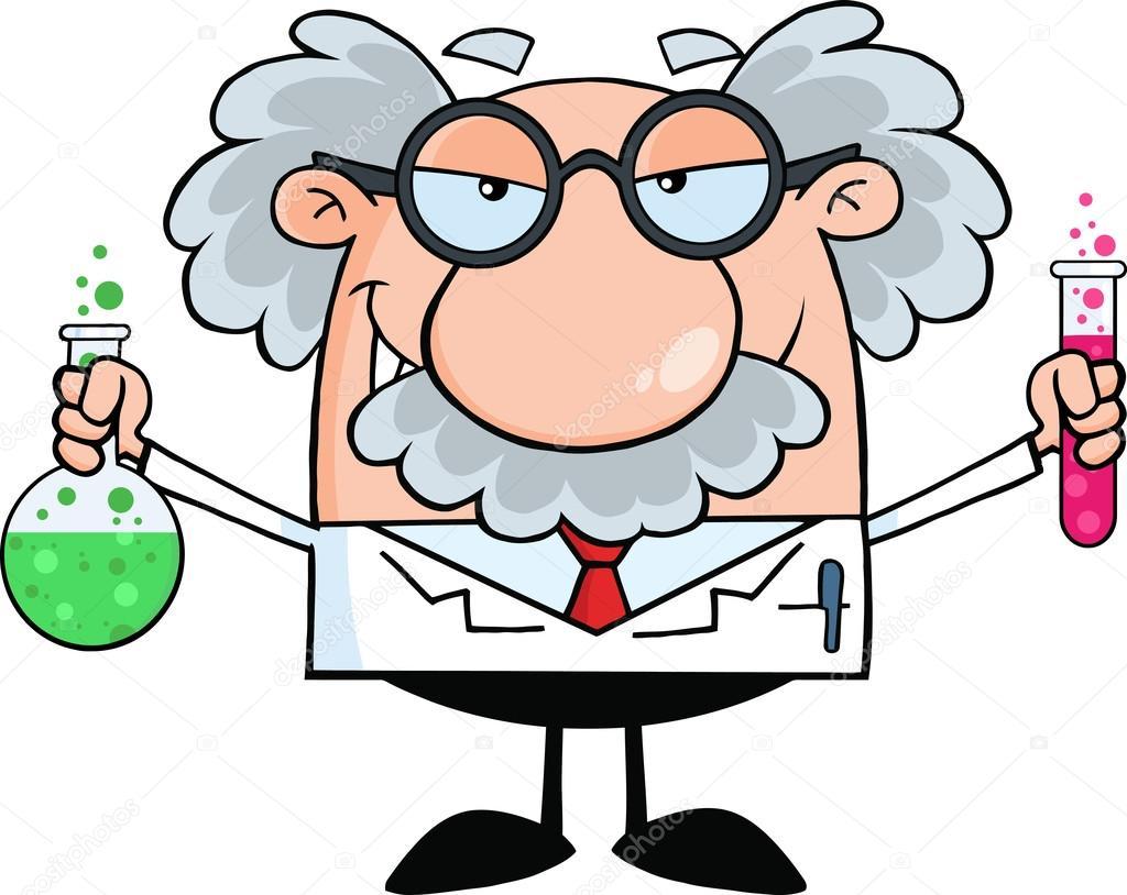 Verrückter wissenschaftler und professor — stockvektor