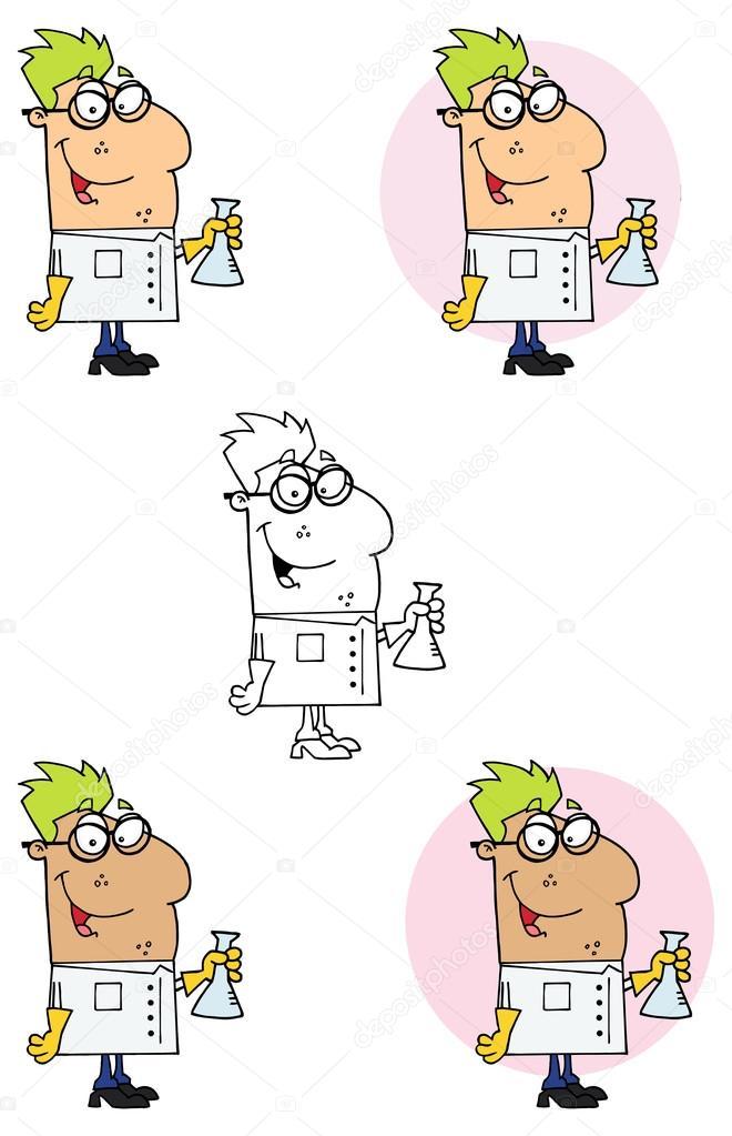 personagem de desenho animado cientista vetores de stock hittoon