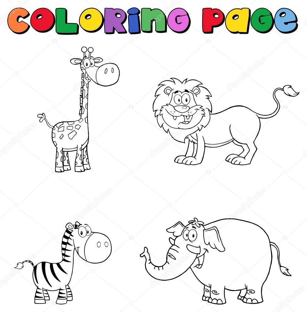 Dibujos Cebras Y Jirafas Elefante Y Leon Jirafa Cebra Vector De