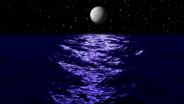 Moon light over sea at night