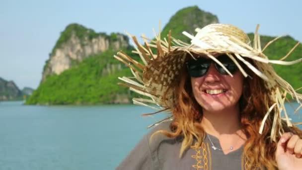Tourist girl on boat