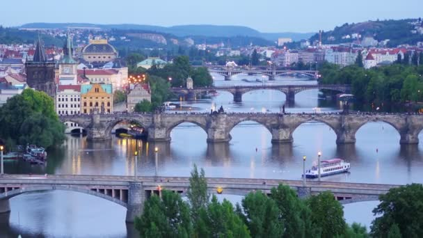 Prague bridges over Danube river