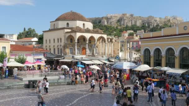 Monastiraki Square and walking tourists